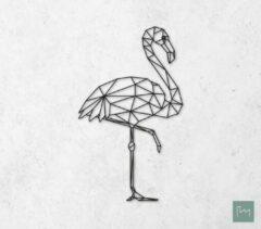 Laserfabrique Wanddecoratie - Geometrische Flamingo - Zwart - 60cm - Houten Dieren - Muurdecoratie - Line art - Wall art