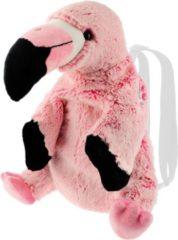 Roze Merkloos / Sans marque Pluche flamingo vogel rugtas/rugzak knuffel 32 cm - Flamingo vogels knuffels - Speelgoed voor kinderen