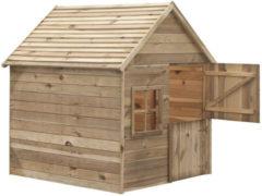 Naturelkleurige SwingKing Swing King speelhuis Louise deLuxe 124x150x160 cm - Geïmpregneerd FSC hout