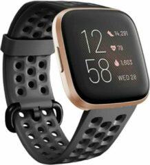 Merkloos / Sans marque Smartwatchbandje - Geschikt voor Fitbit Versa siliconen bandje met gaatjes - zwart - Maat S