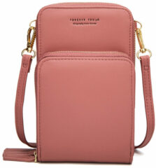 Merkloos / Sans marque Compact Telefoontasje – 3 Compartimenten – Roze – Ideaal Voor op Een Feestje