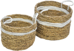 Naturelkleurige HSM Collection Mandenset Malibu - Waterhyacint - wit/naturel - set van 2