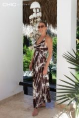 Beige Chic by Lirette Halter jurk Samoa Bruin Dames Jurk L