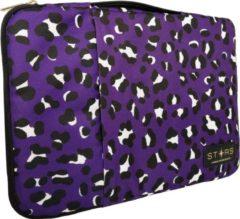 STARS™ STARS - 13.3 inch Laptophoes Luipaardprint met Zijvak en Handgreep - Paars - Geschikt tot 14 inch
