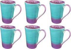 DeSfeerbrenger Mok - Beker - Set van 6 stuks mokken/bekers - Keramiek - 100% hand painted - Paars/turquoise - 350 ml
