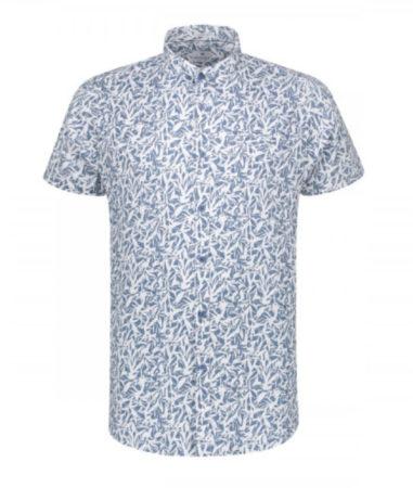 Afbeelding van Blauwe Korte Mouw Overhemd Print Horizon Blue (311132 - 626)
