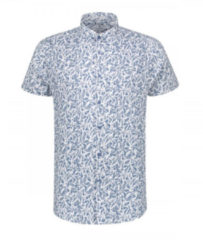 Blauwe Korte Mouw Overhemd Print Horizon Blue (311132 - 626)