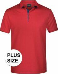 James & Nicholson Grote maten polo shirt Golf Pro premium rood/navy voor heren - Rode plus size herenkleding - Werk/zakelijke polo t-shirts 3XL