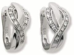 Elegance Zilveren Oorbellen klapcreolen met zirkonia 10 x 18 mm 107.6061.00