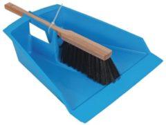 Blauwe Talen Tools bladerenblik blauw met stoffer