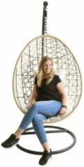 Naturelkleurige Luxury living Hangstoel Naturel |Witte kussens|ei-egg chair|Lounge stoel|Rotan| Bohemian Woondecoratie|