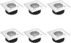 Zilveren VidaXL Solargrondspots vierkant 6 st