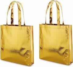 Goudkleurige Merkloos / Sans marque 3x Gelamineerde boodschappentassen/shoppers goud 34 x 35 cm - Non-woven gelamineerde tassen met 50 cm handvatten