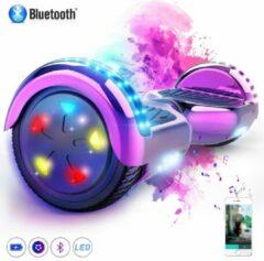Evercross 6.5 inch Hoverboard met Flits Wielen + TAOTAO moederbord, Elektrische Zelfbalancerende Scooter,Bluetooth Speaker,LED verlichting - Roze Chroom