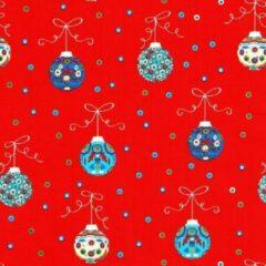 Original Giftwrap Cadeaupapier - Xmas on Glossy - Kerstballen op Rood - 50cm x 200m