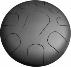 Zwarte LIDAH® Steel Tongue Drum - Lydian Constellation Series (28 cm) – Handpan - Lotus Drum – Klankschaal – Meditatie - Yoga