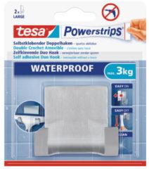 Zilveren 1x Tesa RVS dubbele haak waterproof Powerstrips - Klusbenodigdheden - Huishouden - Verwijderbare haken - Opplak haken 1 stuks
