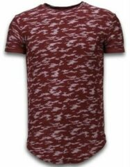Rode Justing Fashionable Camouflage T-shirt - Long Fit Shirt Army Pattern - Bordeaux Heren T-shirt XL