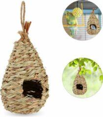 Relaxdays nestbuidel - vogelhuisje - stro - vogelnest - vogelhuis - decoratie voor tuin