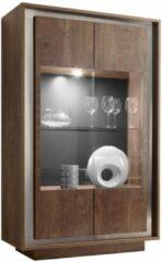 Donkerbruine Pesaro Mobilia Vitrinekast SKY 171 cm hoog - Cognac bruin
