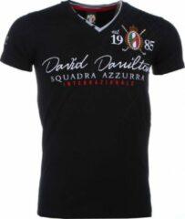 David Copper Italiaanse T-shirt - Korte Mouwen Heren - Borduur Squadra Azzura - Zwart Italiaanse T-shirt - Korte Mouwen Heren - Borduur Squadra Azzura - Zwart Heren T-shirt Maat M