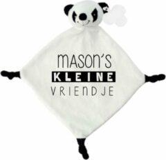 Witte Livingstickers Knuffeldoekje panda kleine vriendje met naam-persoonlijk kraamcadeau