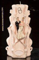 Creme witte Designkaarsen.com Huwelijks Kaars, handgesneden, 23 cm A (zeer exclusief)