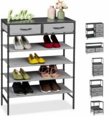 Relaxdays ladekast grijs - tv-meubel - schoenenrek - bijzettafel - nachtkastje - dressoir E
