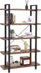 MIRA Home - Boekenrek - Boekenkast - Vakkenkast - 5 Planken - Rustiek - Hout/Metaal - Bruin/Zwart - 29,5x105x177,5