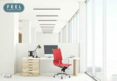 Feel Furniture - Luxe design bureaustoel van 100% rundleer - Hoge rugleuning - Rood
