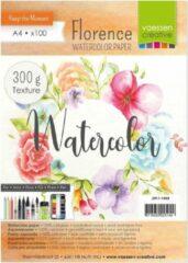 Vaessen Creative Watercolor Aquarelpapier 300g A4 wit Florence - 100 stuks