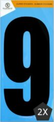 Ramboo Cijfer sticker 9 | Zwart | 2 stuks | Kliko Stickers | Cijfer Stickers | Nummer Stickers | Plakcijfers | 17,5 CM Hoog