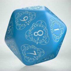 Blauwe Q Workshop Q-Workshop Life Counter Die D20 blue & white