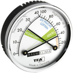 TFA Dostmann 45.2024 Thermo- en hygrometer Montagewijze: Wand Zilver