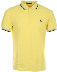 Gele Polo Shirt Korte Mouw Fred Perry Twin Tipped Shirt