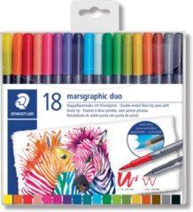 Staedtler brushpen Marsgraphic duo, doos van 18 stuks in geassorteerde kleuren