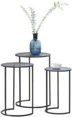 Lifa-Living LIFA LIVING Moderne Bijzettafels, Set van 3 Ronde Salontafels, Zwarte Koffietafels, Metalen bijzettafeltjes voor Woonkamer, Keuken