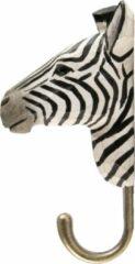 Witte Wildlife Garden Kledinghaak Zebra Houtsnijwerk