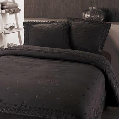 Afbeelding van Antraciet-grijze Fancy Embroidery RL 12 - Dekbedovertrek - Eenpersoons - 140x200/220 cm + 1 kussensloop 60x70 cm - Antraciet