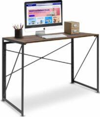 LifeGoods Inklapbaar Bureau - Industriële Tafel - Gelamineerd Hout / Stalen Frame - 100x75x50 cm - Bruin/Zwart