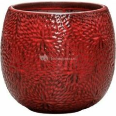 Donkerrode Ter Steege Pot Marly Deep Red ronde rode bloempot voor binnen en buiten 30x28 cm
