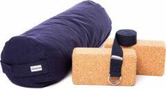 Zenzes PRO bolster met yogariem en 2 yogablokken - marine blauw