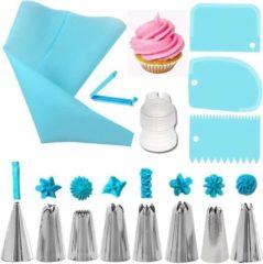 Cabantis Siliconen Spuitzak 14 delig|Spuitzak met spuitmondjes|Slagroom|Decoratie|Cabantis|Blauw