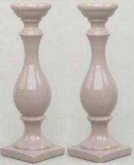 Bruine Home Deco Set/2 Kandelaars van keramiek 39 cm hoog kleur Taupe
