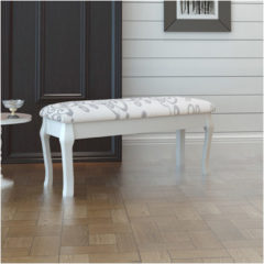 Witte VidaXL - Poef Gestoffeerde poef / tweezits toilettafel WIT 110 cm