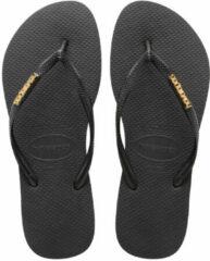 Havaianas Slim Logo Slipper Slippers - Vrouwen Zwart/goud - Maat 41/42