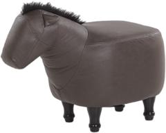 Beliani Hocker leather-look donkerbruin HORSE
