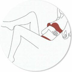 MousePadParadise Muismat Erotische line art - Line-art illustratie van een vrouw in een rode bikini Muismat rond - 20x20 cm - Muismat met foto