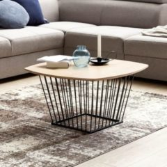 Wohnling Couchtisch SKANDI Retro Design MDF-Holz Eiche 72 x 40 x 72 cm Wohnzimmertisch mit Metall-Gestell Sofatisch Kaffeetisch flach