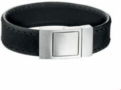 Zilveren Vigor The Jewelry Collection For Men Armband Leer 18 mm 21 cm - Staal
